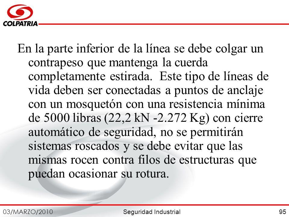 Seguridad Industrial 03/MARZO/2010 95 En la parte inferior de la línea se debe colgar un contrapeso que mantenga la cuerda completamente estirada. Est