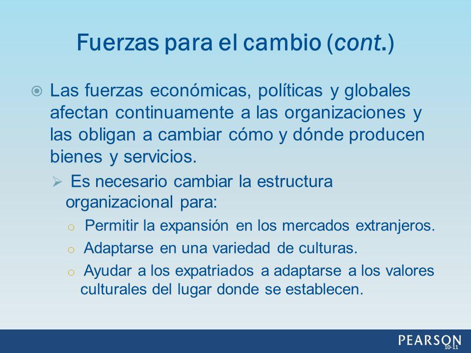 Las fuerzas económicas, políticas y globales afectan continuamente a las organizaciones y las obligan a cambiar cómo y dónde producen bienes y servici