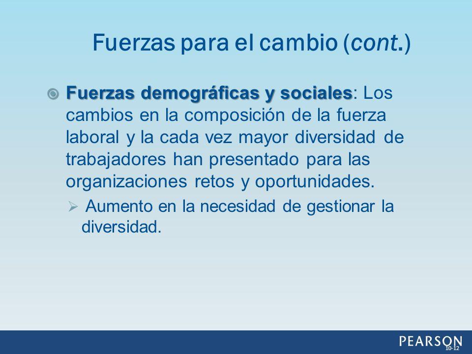 Fuerzas demográficas y sociales Fuerzas demográficas y sociales: Los cambios en la composición de la fuerza laboral y la cada vez mayor diversidad de