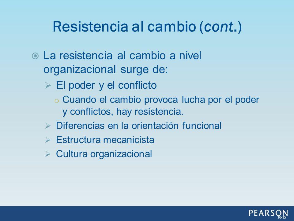 La resistencia al cambio a nivel organizacional surge de: El poder y el conflicto o Cuando el cambio provoca lucha por el poder y conflictos, hay resi