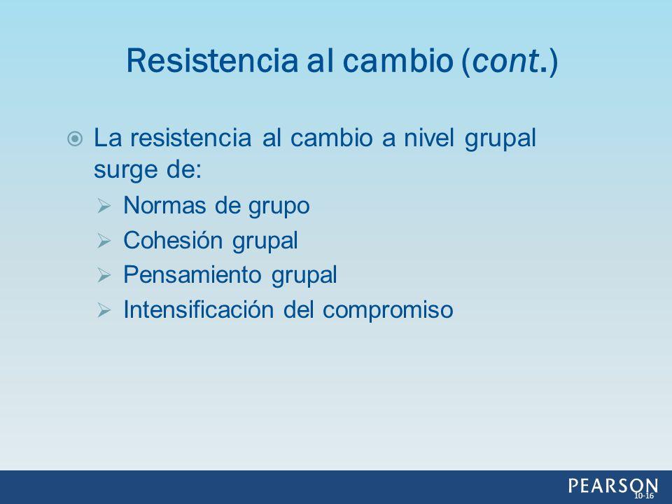 La resistencia al cambio a nivel grupal surge de: Normas de grupo Cohesión grupal Pensamiento grupal Intensificación del compromiso Resistencia al cam