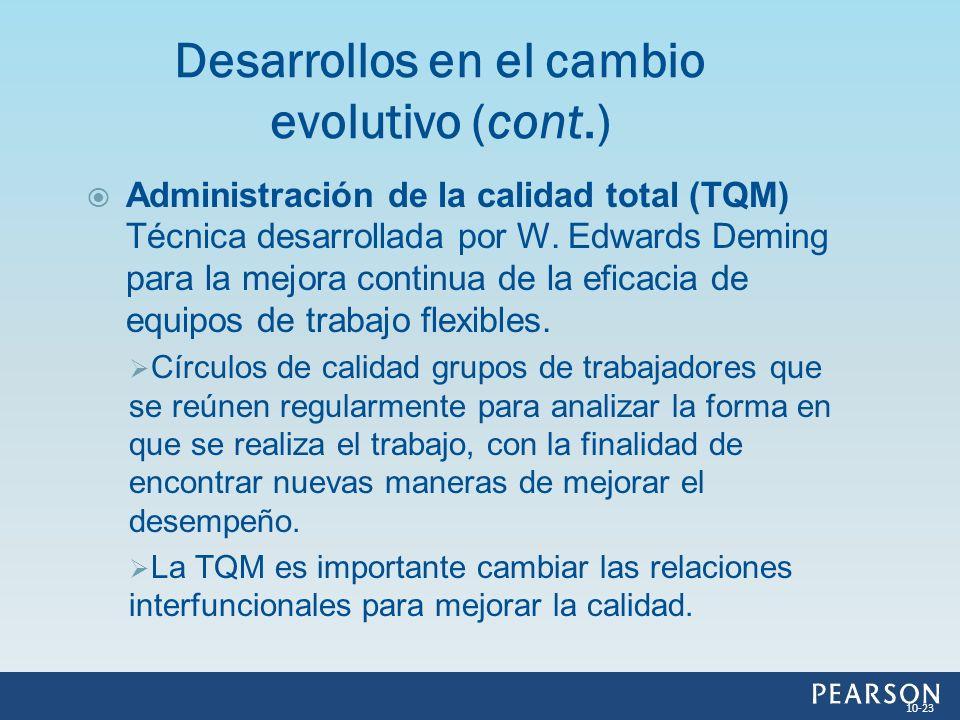 Administración de la calidad total (TQM) Técnica desarrollada por W. Edwards Deming para la mejora continua de la eficacia de equipos de trabajo flexi
