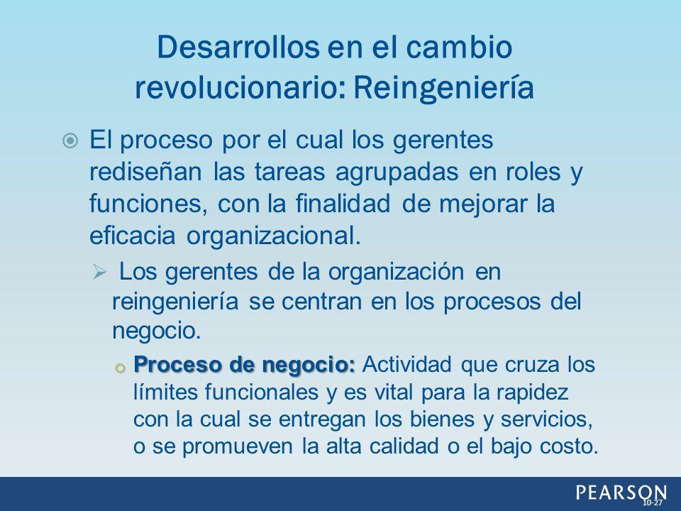 El proceso por el cual los gerentes rediseñan las tareas agrupadas en roles y funciones, con la finalidad de mejorar la eficacia organizacional. Los g