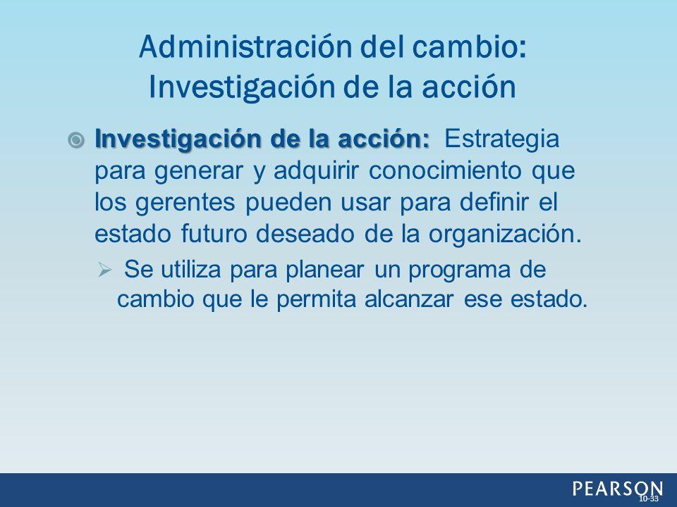 Investigación de la acción: Investigación de la acción: Estrategia para generar y adquirir conocimiento que los gerentes pueden usar para definir el e