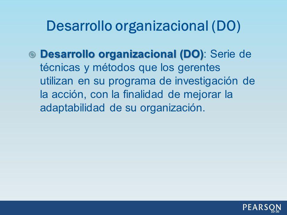 Desarrollo organizacional (DO) Desarrollo organizacional (DO): Serie de técnicas y métodos que los gerentes utilizan en su programa de investigación d