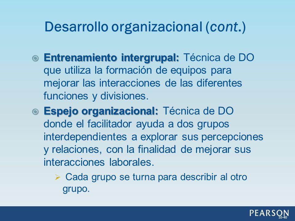 Entrenamiento intergrupal: Entrenamiento intergrupal: Técnica de DO que utiliza la formación de equipos para mejorar las interacciones de las diferent