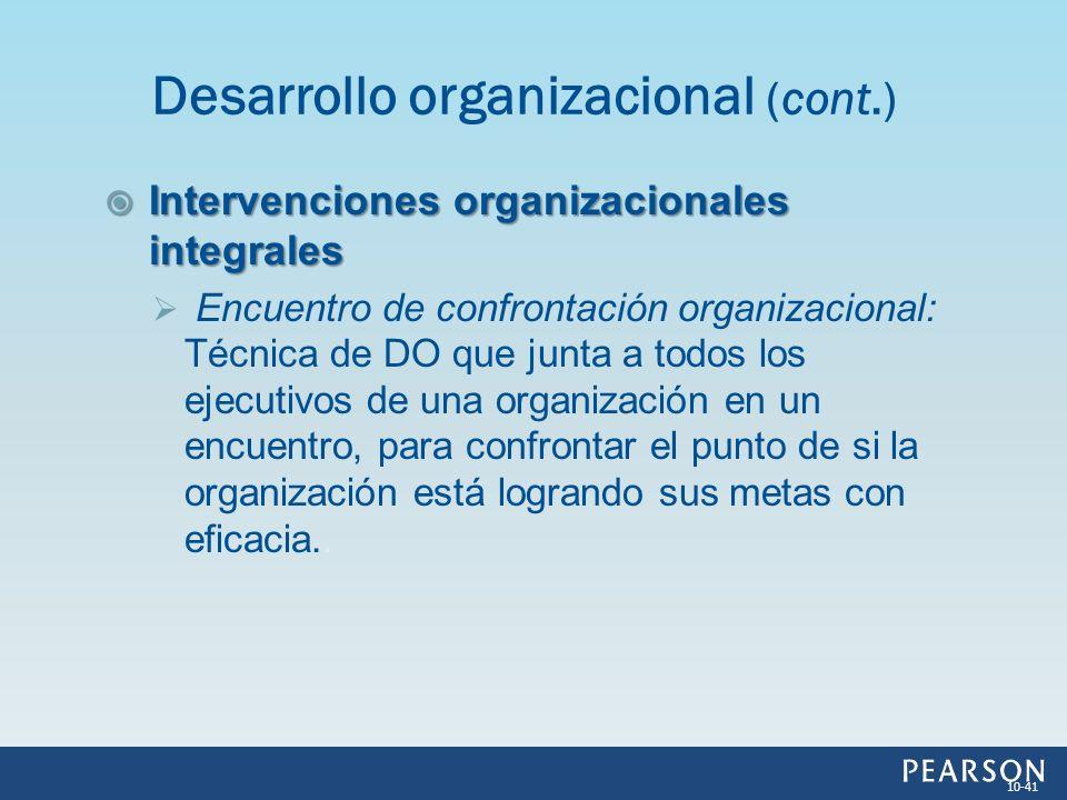 Intervenciones organizacionales integrales Intervenciones organizacionales integrales Encuentro de confrontación organizacional: Técnica de DO que jun