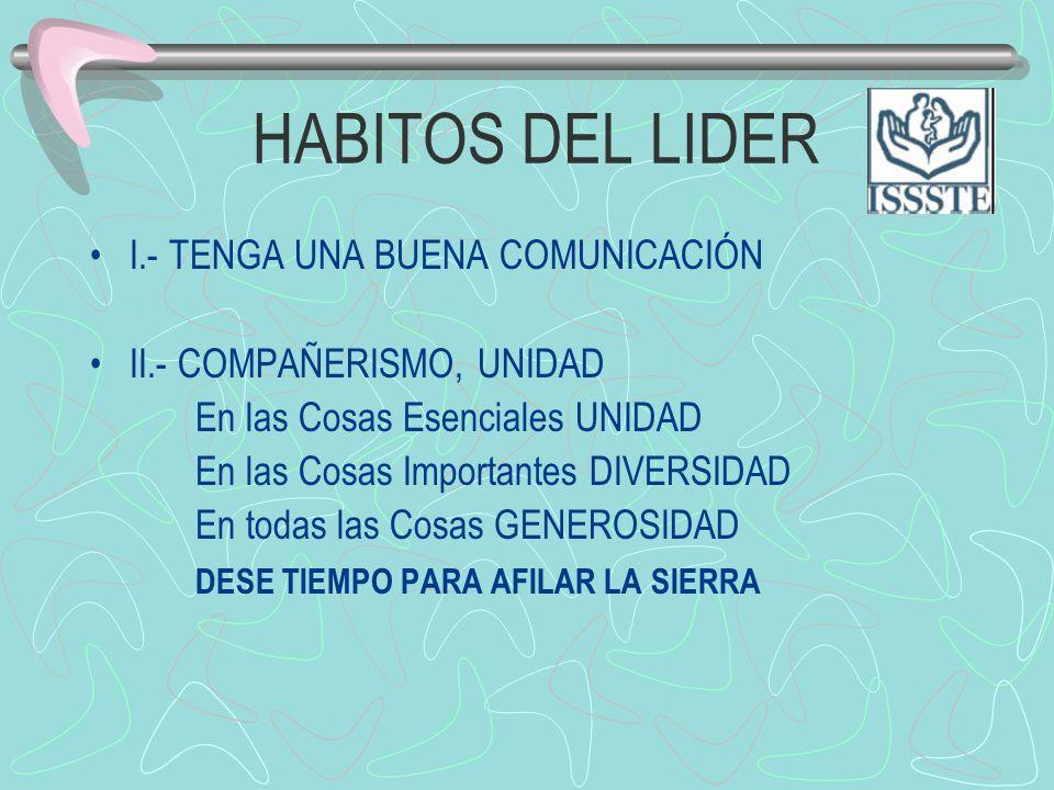 HABITOS DEL LIDER I.- TENGA UNA BUENA COMUNICACIÓN II.- COMPAÑERISMO, UNIDAD En las Cosas Esenciales UNIDAD En las Cosas Importantes DIVERSIDAD En tod