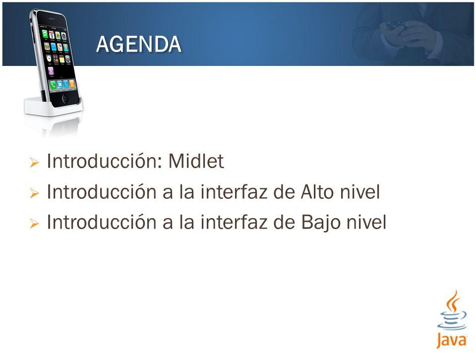 Introducción: Midlet Introducción a la interfaz de Alto nivel Introducción a la interfaz de Bajo nivel AGENDA