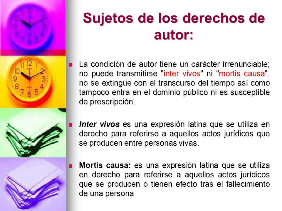 Sujetos de los otros derechos de propiedad intelectual: Artistas intérpretes o ejecutantes.