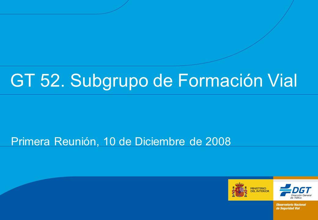 GT 52. Subgrupo de Formación Vial Primera Reunión, 10 de Diciembre de 2008