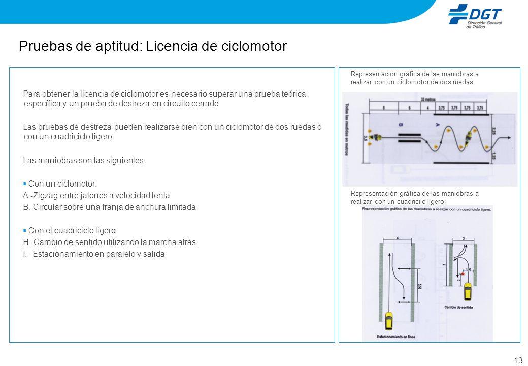 13 Pruebas de aptitud: Licencia de ciclomotor Para obtener la licencia de ciclomotor es necesario superar una prueba teórica específica y un prueba de