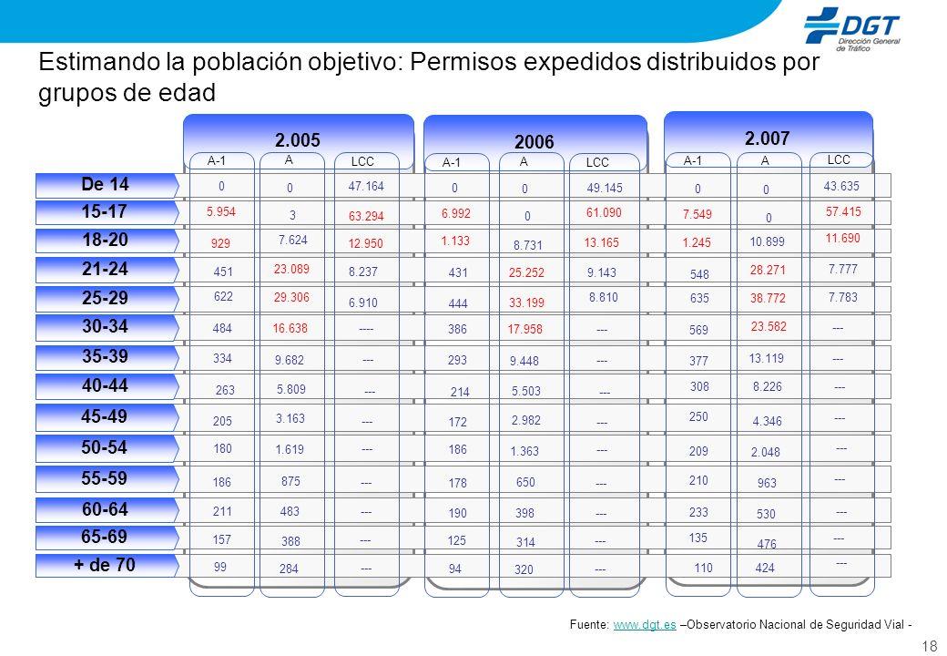 18 Estimando la población objetivo: Permisos expedidos distribuidos por grupos de edad Fuente: www.dgt.es –Observatorio Nacional de Seguridad Vial -ww