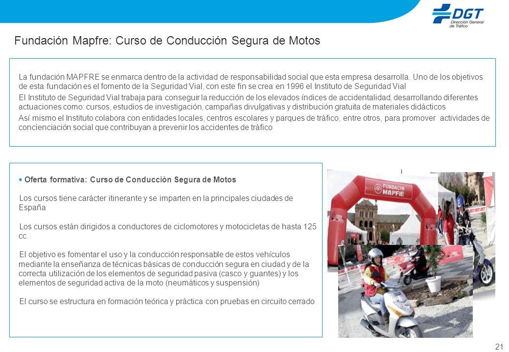 21 Fundación Mapfre: Curso de Conducción Segura de Motos Oferta formativa: Curso de Conducción Segura de Motos Los cursos tiene carácter itinerante y