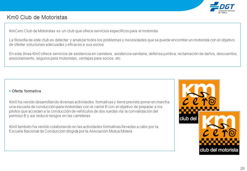 26 Km0 Club de Motoristas Oferta formativa Km0 ha venido desarrollando diversas actividades formativas y tiene previsto poner en marcha una escuela de