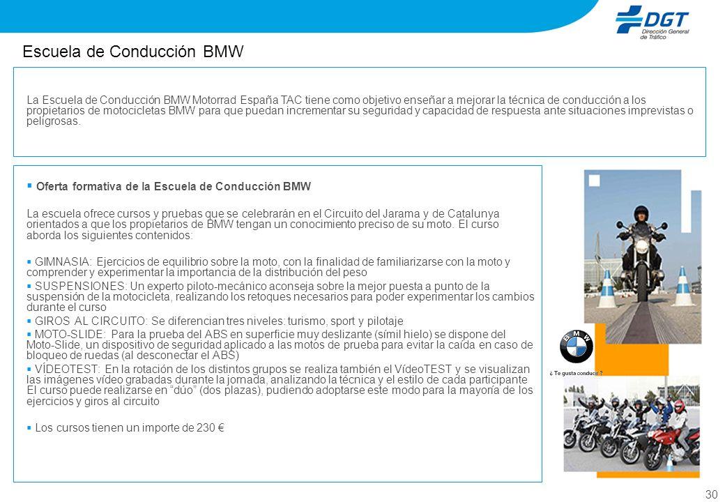 30 Escuela de Conducción BMW Oferta formativa de la Escuela de Conducción BMW La escuela ofrece cursos y pruebas que se celebrarán en el Circuito del