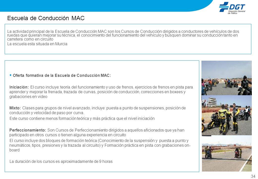 34 Escuela de Conducción MAC Oferta formativa de la Escuela de Conducción MAC: Iniciación: El curso incluye: teoría del funcionamiento y uso de frenos