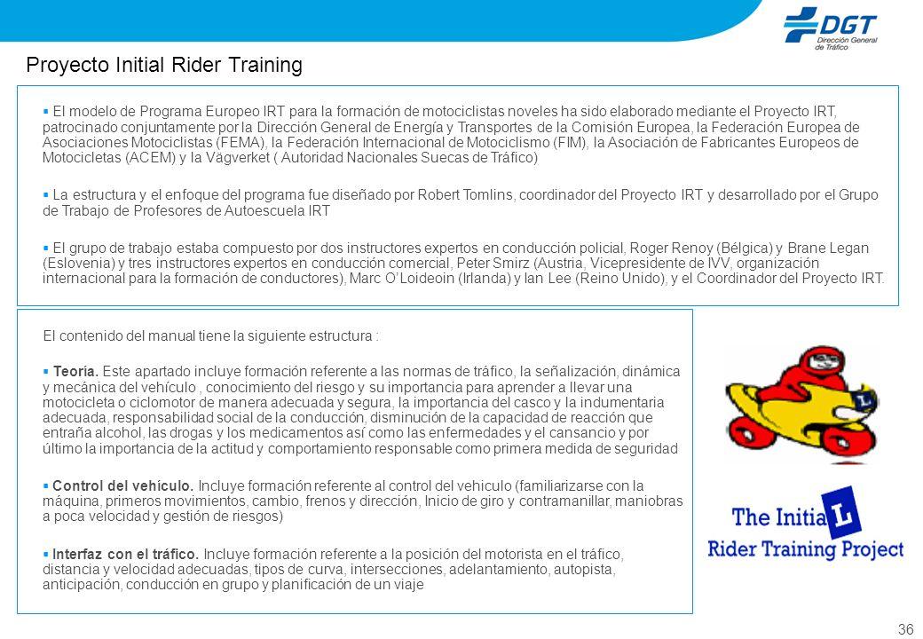 36 El modelo de Programa Europeo IRT para la formación de motociclistas noveles ha sido elaborado mediante el Proyecto IRT, patrocinado conjuntamente