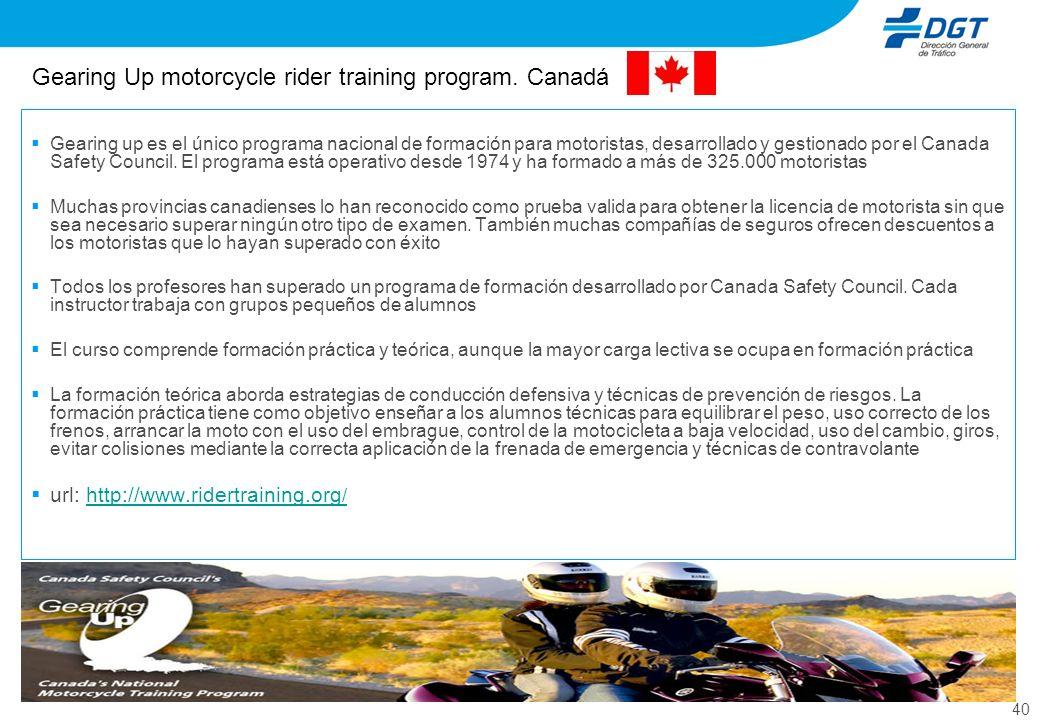 40 Gearing Up motorcycle rider training program. Canadá Gearing up es el único programa nacional de formación para motoristas, desarrollado y gestiona