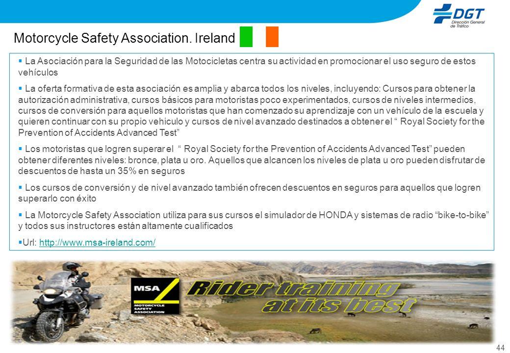 44 Motorcycle Safety Association. Ireland La Asociación para la Seguridad de las Motocicletas centra su actividad en promocionar el uso seguro de esto