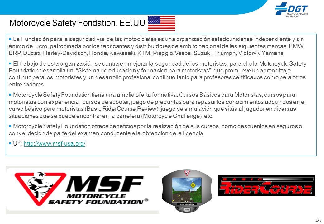 45 Motorcycle Safety Fondation. EE.UU La Fundación para la seguridad vial de las motocicletas es una organización estadounidense independiente y sin á