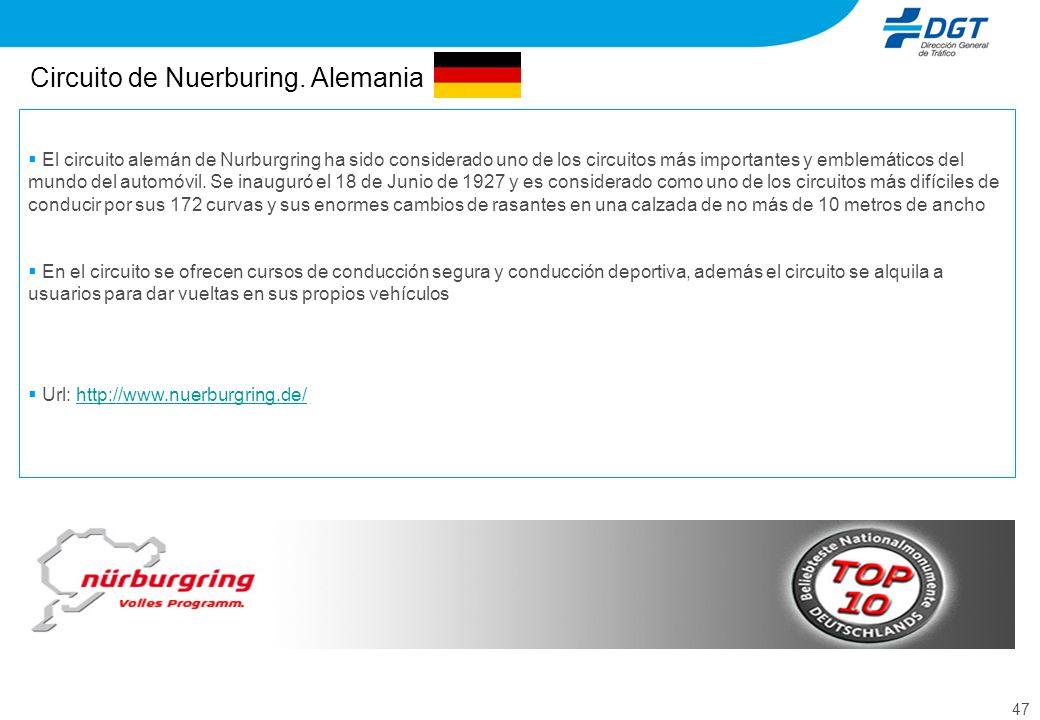 47 Circuito de Nuerburing. Alemania El circuito alemán de Nurburgring ha sido considerado uno de los circuitos más importantes y emblemáticos del mund