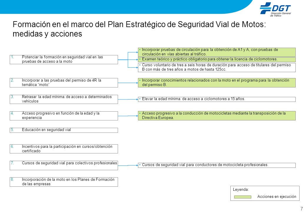 7 Formación en el marco del Plan Estratégico de Seguridad Vial de Motos: medidas y acciones 6.Incentivos para la participación en cursos/obtención cer