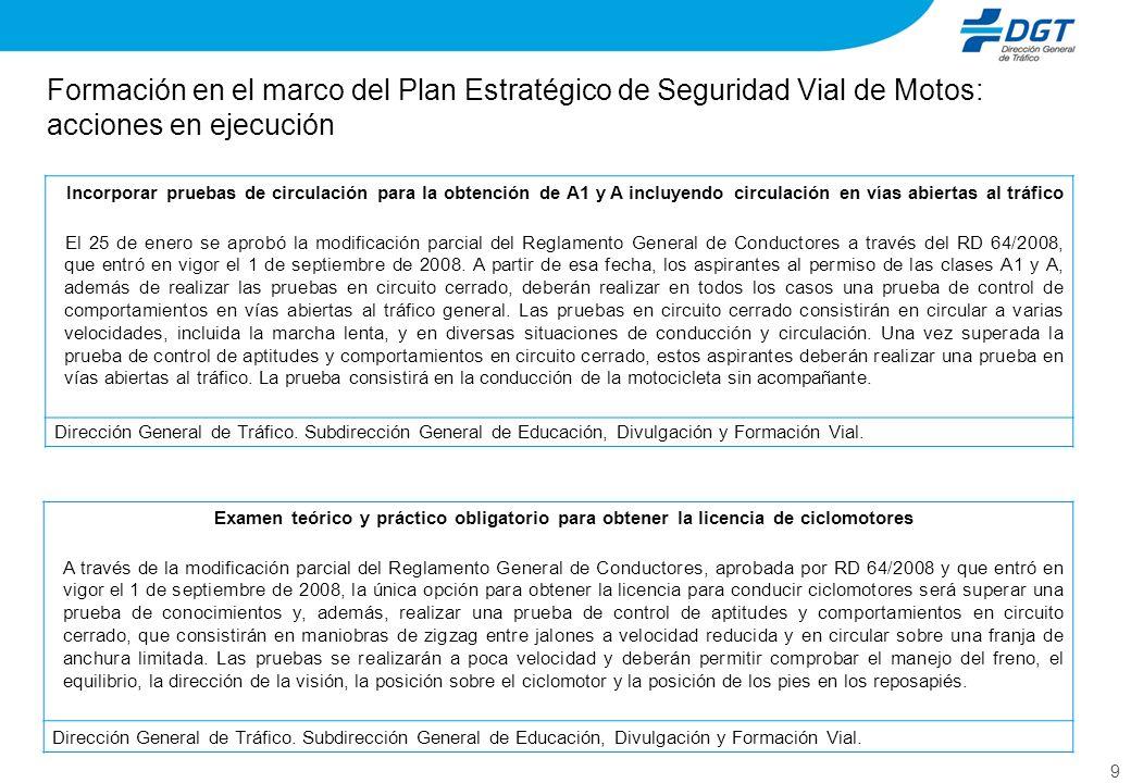 9 Examen teórico y práctico obligatorio para obtener la licencia de ciclomotores A través de la modificación parcial del Reglamento General de Conduct