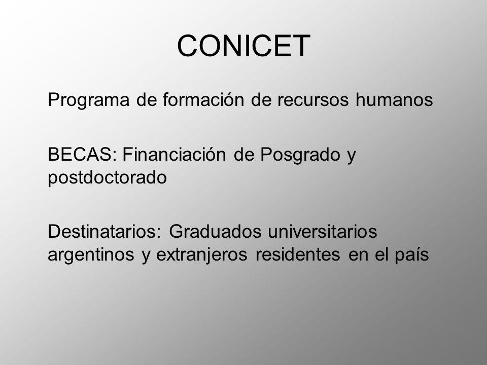 CONICET Programa de formación de recursos humanos BECAS: Financiación de Posgrado y postdoctorado Destinatarios: Graduados universitarios argentinos y extranjeros residentes en el país