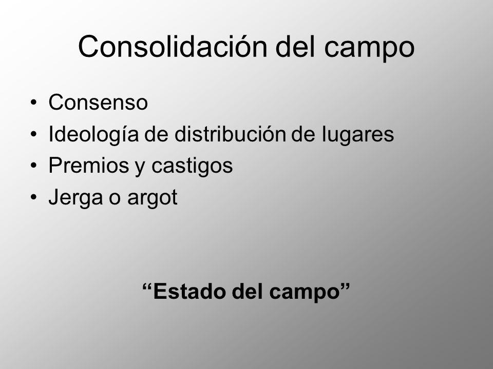 Consolidación del campo Consenso Ideología de distribución de lugares Premios y castigos Jerga o argot Estado del campo