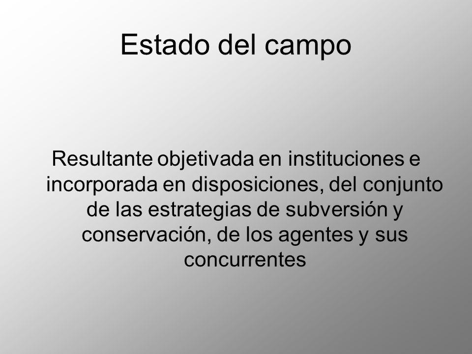 Resultante objetivada en instituciones e incorporada en disposiciones, del conjunto de las estrategias de subversión y conservación, de los agentes y sus concurrentes