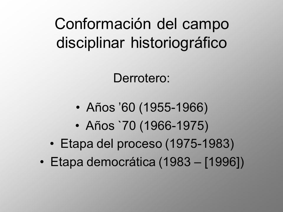 Conformación del campo disciplinar historiográfico Derrotero: Años 60 (1955-1966) Años `70 (1966-1975) Etapa del proceso (1975-1983) Etapa democrática (1983 – [1996])