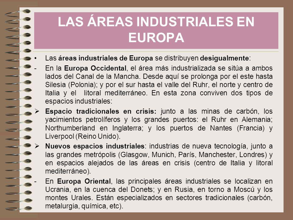 Las áreas industriales de Europa se distribuyen desigualmente: -En la Europa Occidental, el área más industrializada se sitúa a ambos lados del Canal