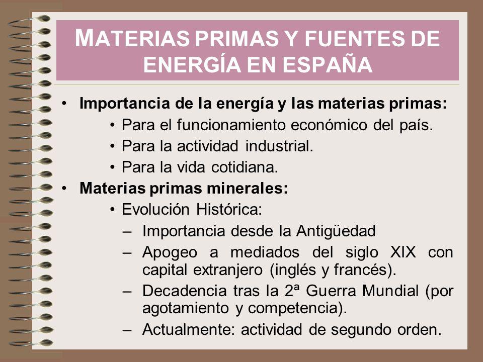 Importancia de la energía y las materias primas: Para el funcionamiento económico del país. Para la actividad industrial. Para la vida cotidiana. Mate