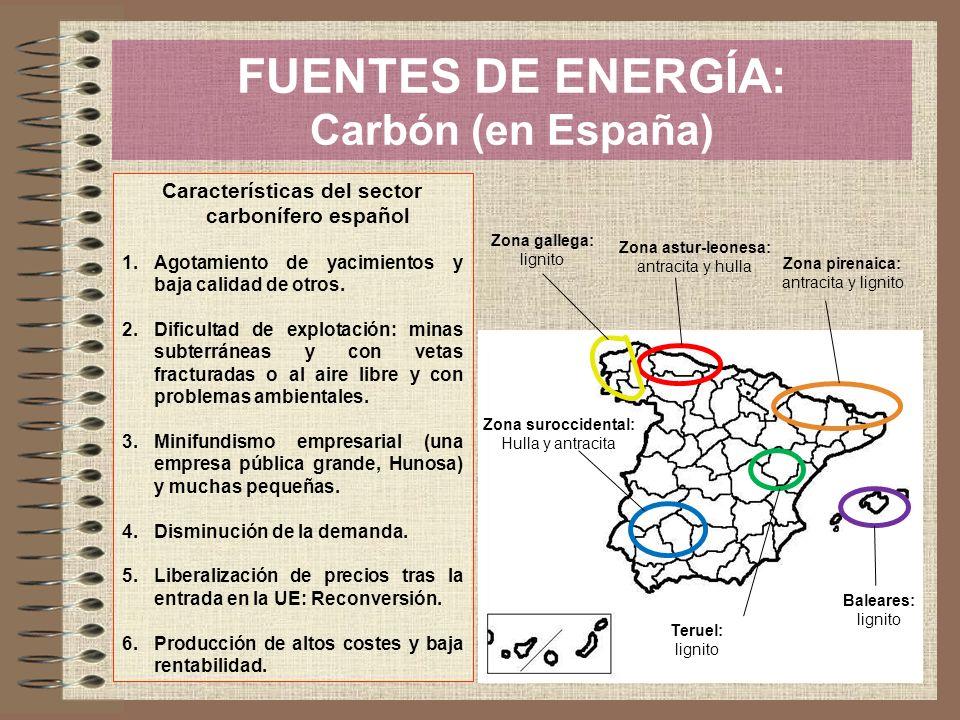 FUENTES DE ENERGÍA: Carbón (en España) Características del sector carbonífero español 1.Agotamiento de yacimientos y baja calidad de otros. 2.Dificult