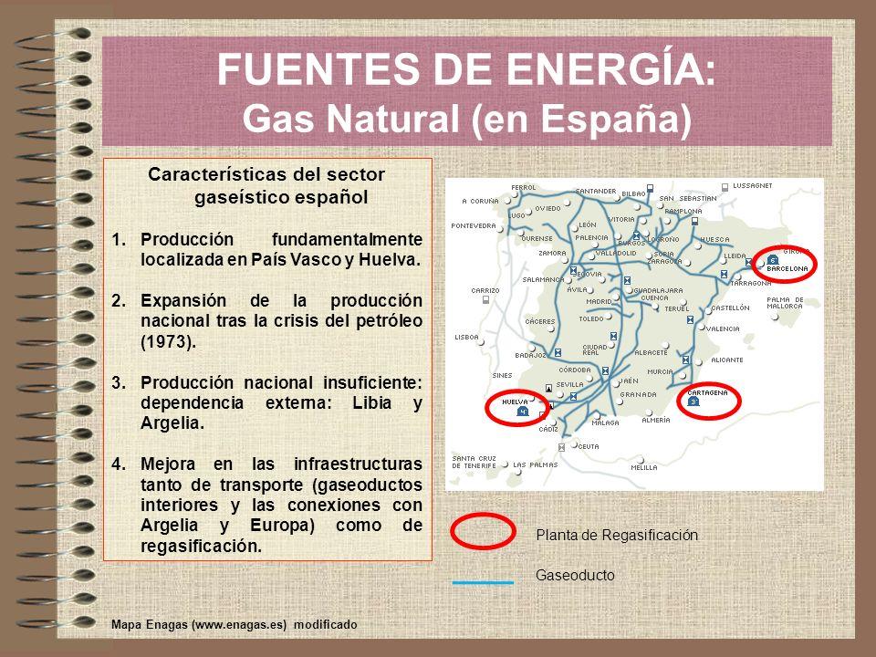 FUENTES DE ENERGÍA: Gas Natural (en España) Características del sector gaseístico español 1.Producción fundamentalmente localizada en País Vasco y Hue