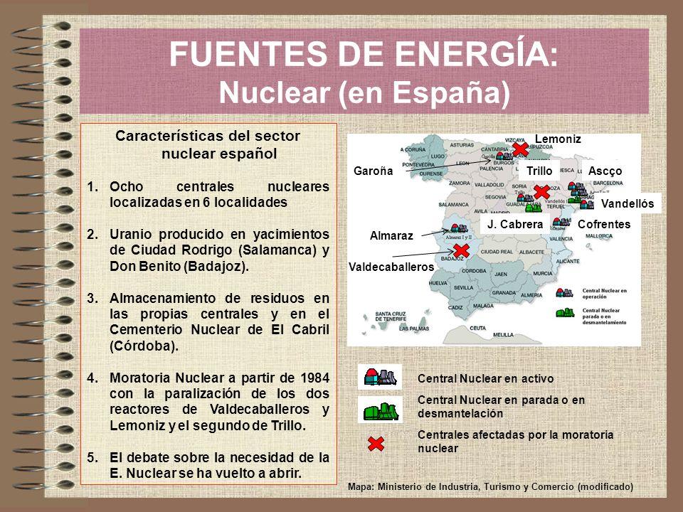 FUENTES DE ENERGÍA: Nuclear (en España) Características del sector nuclear español 1.Ocho centrales nucleares localizadas en 6 localidades 2.Uranio pr
