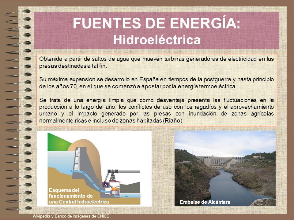 FUENTES DE ENERGÍA: Hidroeléctrica Obtenida a partir de saltos de agua que mueven turbinas generadoras de electricidad en las presas destinadas a tal