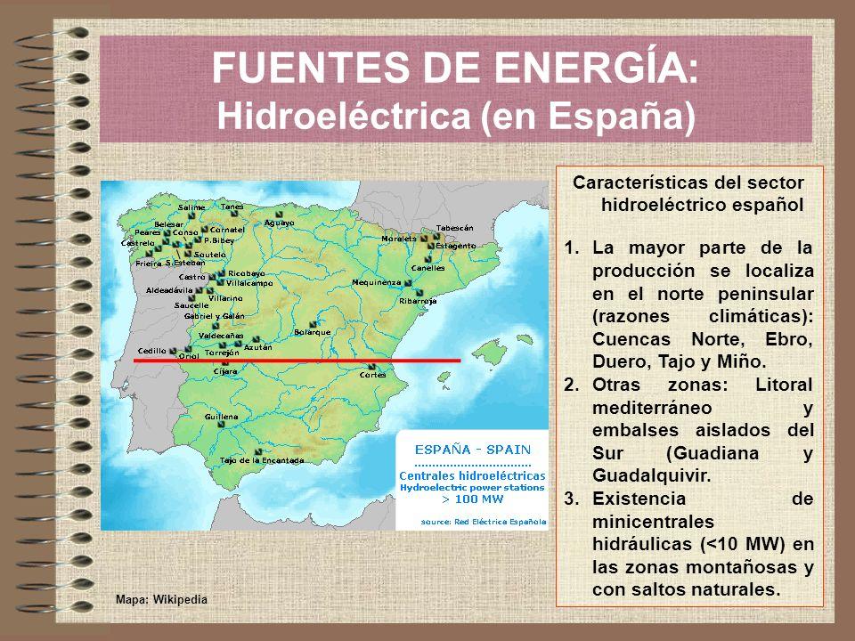 FUENTES DE ENERGÍA: Hidroeléctrica (en España) Características del sector hidroeléctrico español 1.La mayor parte de la producción se localiza en el n