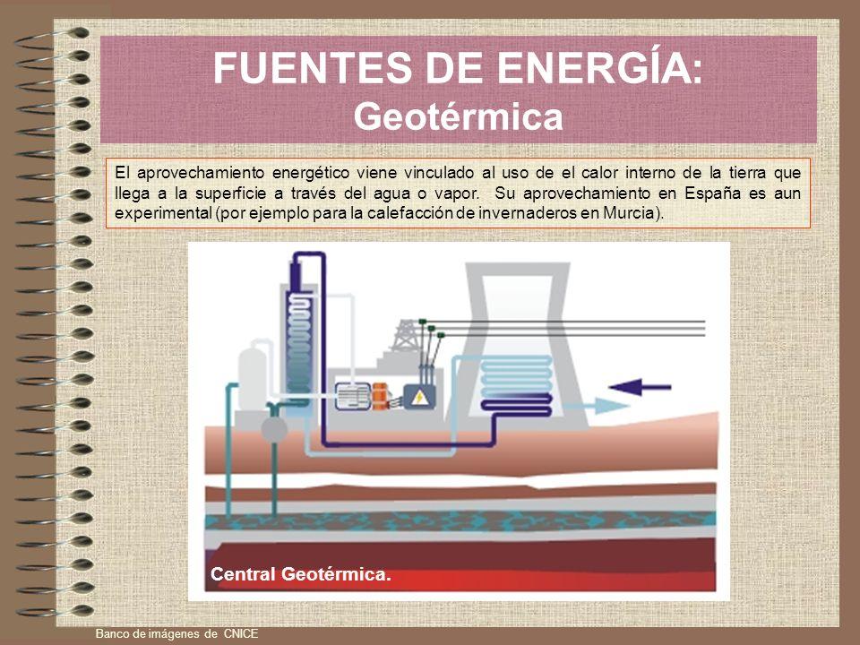 FUENTES DE ENERGÍA: Geotérmica El aprovechamiento energético viene vinculado al uso de el calor interno de la tierra que llega a la superficie a travé