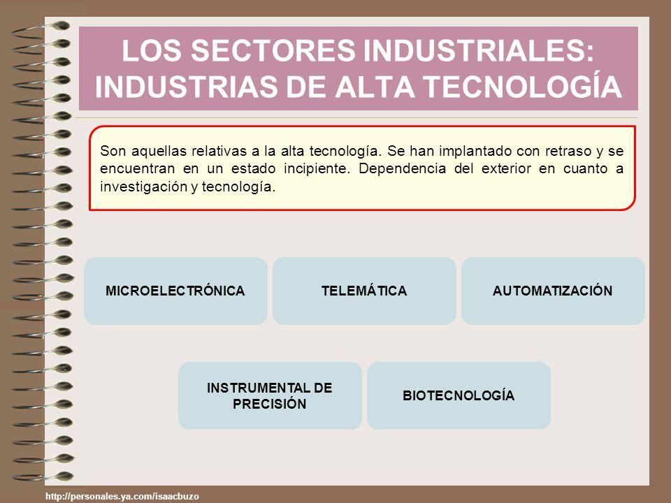LOS SECTORES INDUSTRIALES: INDUSTRIAS DE ALTA TECNOLOGÍA Son aquellas relativas a la alta tecnología. Se han implantado con retraso y se encuentran en
