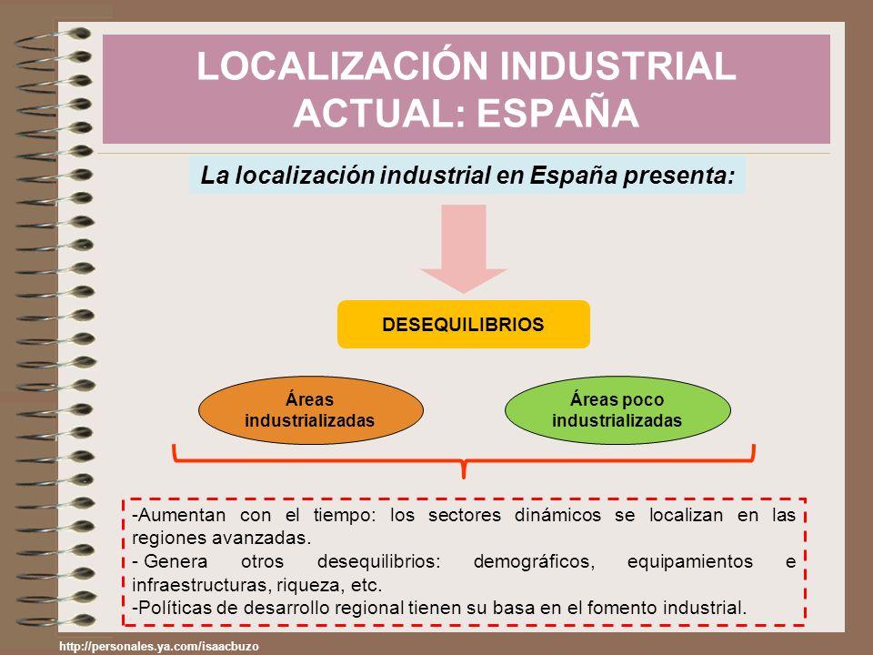 LOCALIZACIÓN INDUSTRIAL ACTUAL: ESPAÑA La localización industrial en España presenta: DESEQUILIBRIOS Áreas industrializadas Áreas poco industrializada