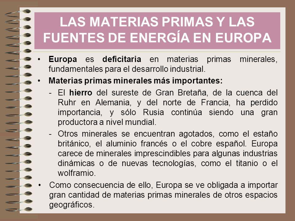 Europa es deficitaria en materias primas minerales, fundamentales para el desarrollo industrial. Materias primas minerales más importantes: -El hierro