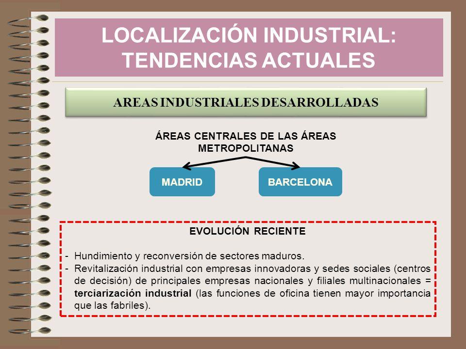 AREAS INDUSTRIALES DESARROLLADAS ÁREAS CENTRALES DE LAS ÁREAS METROPOLITANAS MADRIDBARCELONA EVOLUCIÓN RECIENTE -Hundimiento y reconversión de sectore