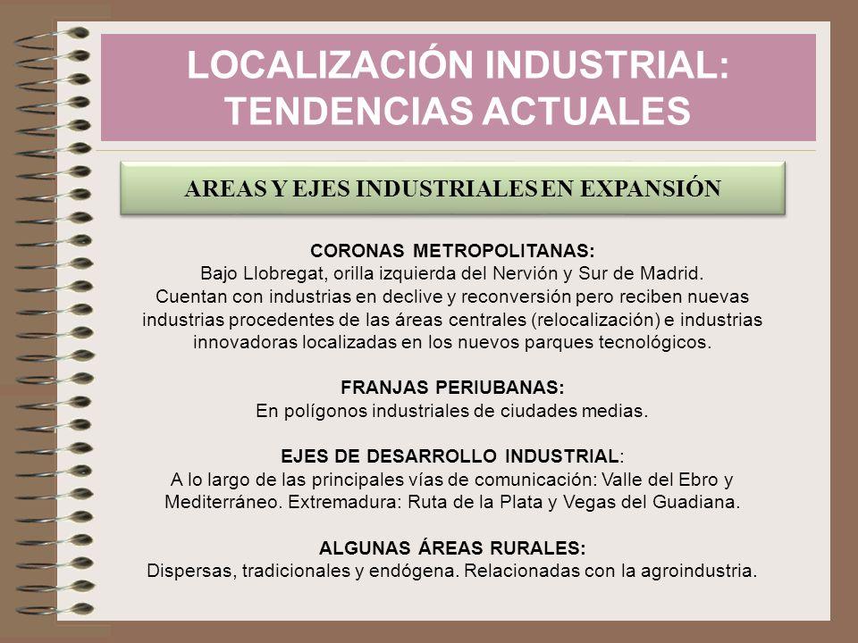 LOCALIZACIÓN INDUSTRIAL: TENDENCIAS ACTUALES AREAS Y EJES INDUSTRIALES EN EXPANSIÓN CORONAS METROPOLITANAS: Bajo Llobregat, orilla izquierda del Nervi