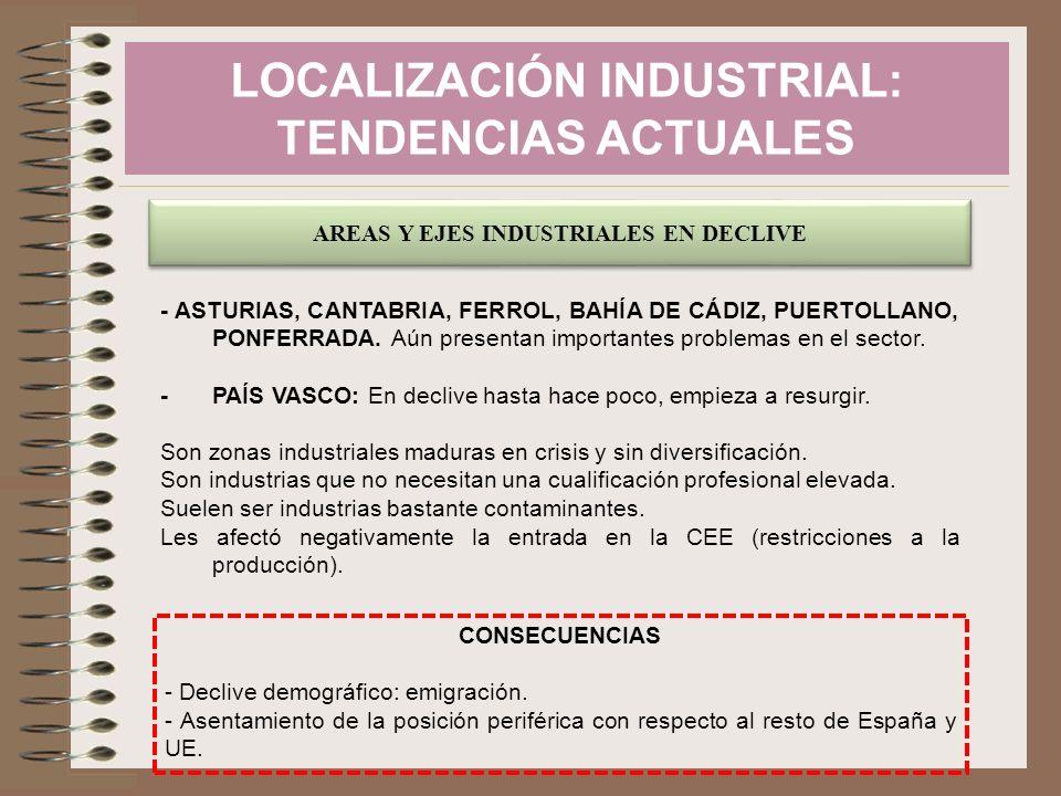 LOCALIZACIÓN INDUSTRIAL: TENDENCIAS ACTUALES AREAS Y EJES INDUSTRIALES EN DECLIVE - ASTURIAS, CANTABRIA, FERROL, BAHÍA DE CÁDIZ, PUERTOLLANO, PONFERRA