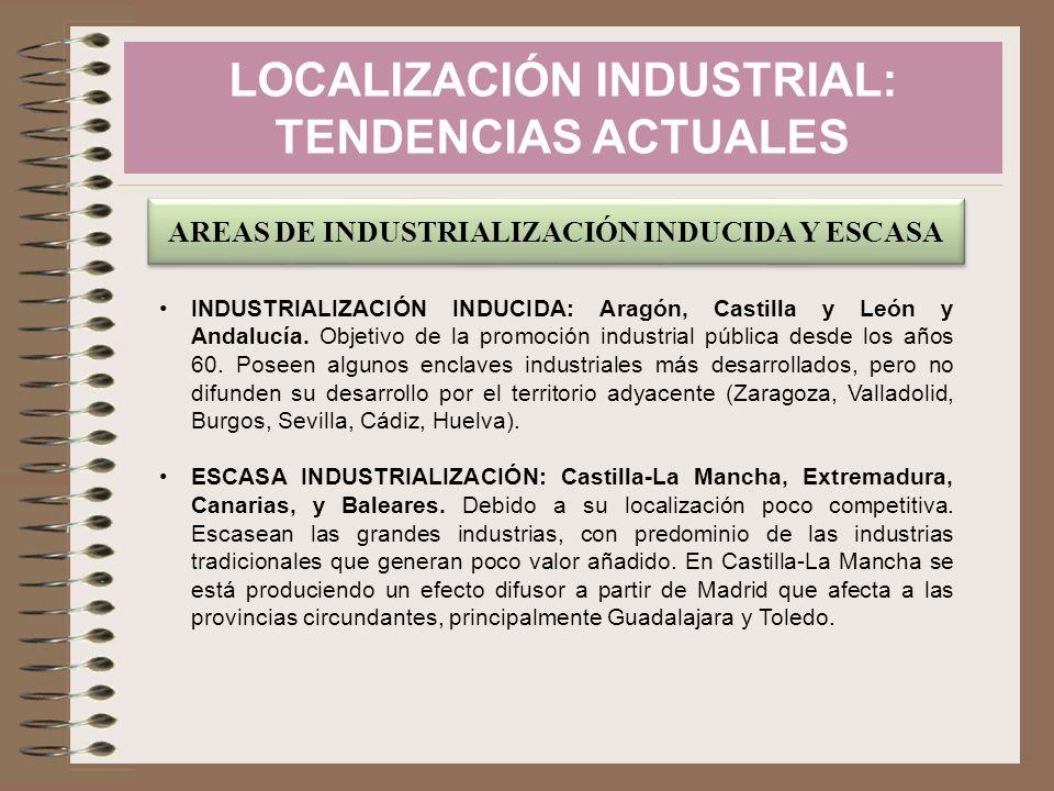 LOCALIZACIÓN INDUSTRIAL: TENDENCIAS ACTUALES AREAS DE INDUSTRIALIZACIÓN INDUCIDA Y ESCASA INDUSTRIALIZACIÓN INDUCIDA: Aragón, Castilla y León y Andalu