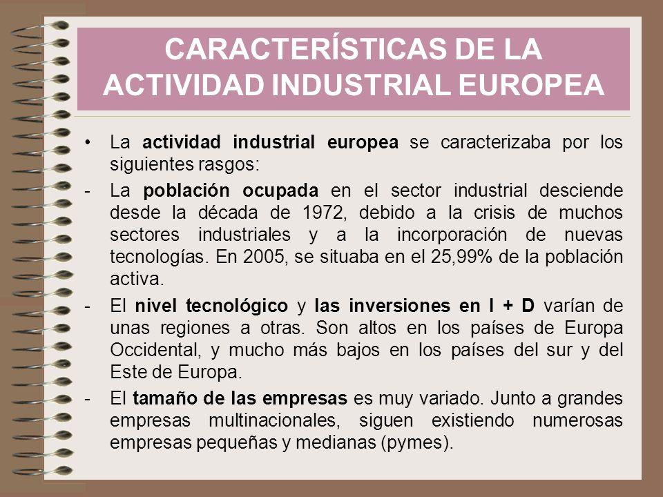 La actividad industrial europea se caracterizaba por los siguientes rasgos: -La población ocupada en el sector industrial desciende desde la década de