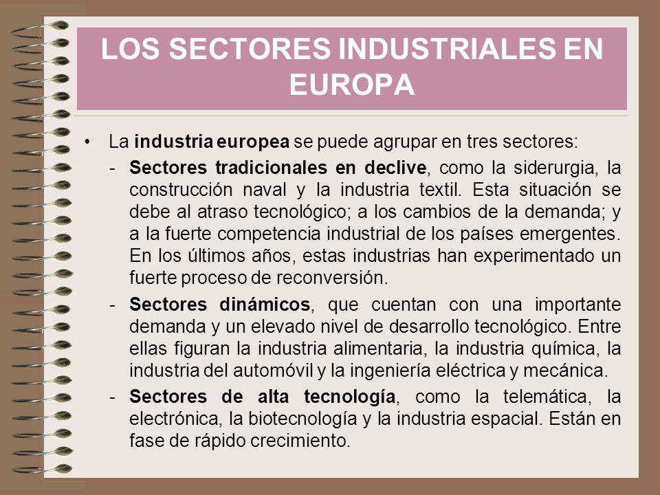 La industria europea se puede agrupar en tres sectores: -Sectores tradicionales en declive, como la siderurgia, la construcción naval y la industria t