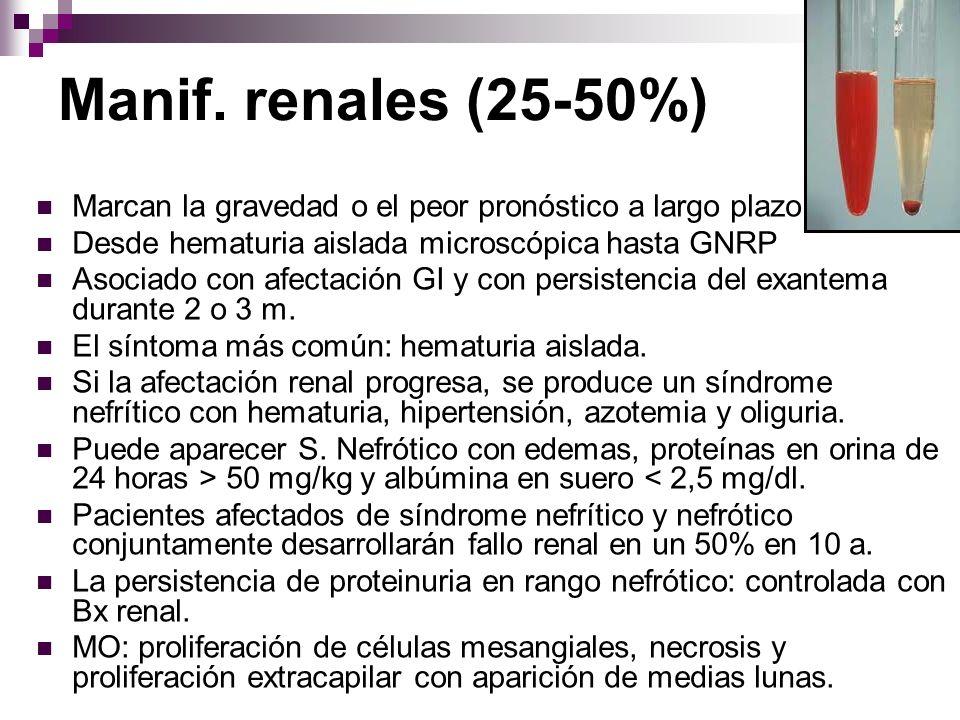 Manif. renales (25-50%) Marcan la gravedad o el peor pronóstico a largo plazo Desde hematuria aislada microscópica hasta GNRP Asociado con afectación